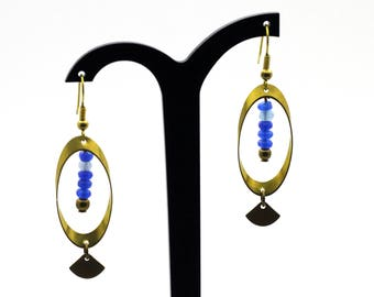 """Perspective"" Oval earrings brass and Jade"