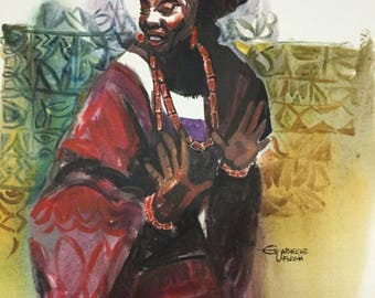 African Painting. Pride. Acrylic Painting On Canvas Board.