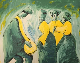 African Painting. Dancing Time. Acrylic Painting On Canvas.