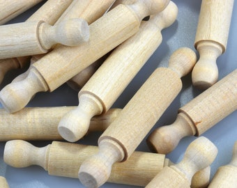Mini Rolling Pins-3 Inches Long-Choice of 6 to 75 Mini Rolling Pins-Unfinished Maple Hardwood-ROLLPIN003
