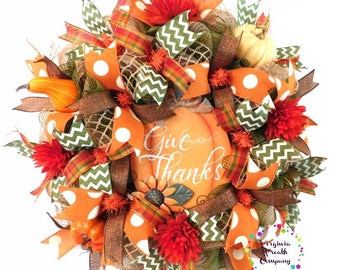 Fall Deco Mesh Wreath, Give Thanks Sign, Fall Wreath, Fall Pumpkin Wreath, Fall Door Decor, Fall Decorations, Pumpkin Wreath, Pumpkin Decor