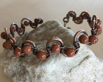 Women's Goldstone weave Cuff  bangle Bracelet - Various sizes - Wire wrapped Jewelry - Handmade - Copper - Metal - Artisan Jewelry