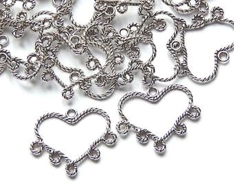 10 29x34mm silver heart shaped chandelier
