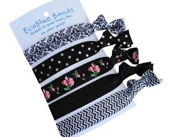 5 hair elastics, soft stretch hair ties, ponies, yoga hair ties, bracelets, ponytail holders - Monochrome mix