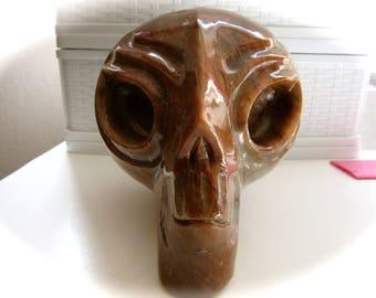 Yellow Brown Mottled Jasper Starbeing Alien Crystal Skulls 120mm 1453g