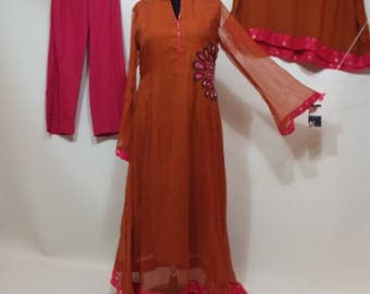 Ladies Long brown chiffon dress, pants and shal pakistan suit  size S-M