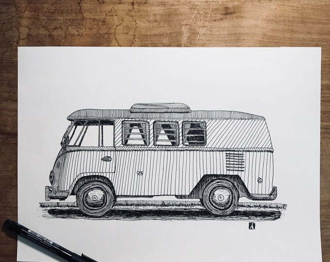 KillerBeeMoto: Original Pen Sketch of Vintage VW Camper Bus (Limited Prints Also Available)