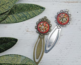 Floral Hand Embroidered Rose Bookmark - Antique Bronze or Silver Metal Book Mark - Flower Embroidery