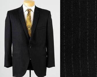 SALE Mens Vintage 60s Black Pinstripe Slim Lapel Semi Formal Jacket Blazer Sportcoat 40R
