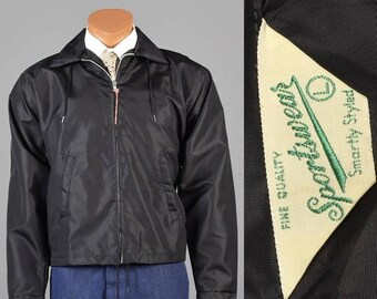 SALE 1960s Windbreaker Jacket 60s Black Windbreaker 1960s Car Club Jacket 60s Hot Rod Club Coat Deadstock Windbreaker 1960s Deadstock Jacket