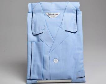 Medium 1950s Mens Sanforized Cotton Pajamas Solid Blue Navy Blue Piping Two Piece Set Vintage 50s Rockabilly Loungewear Lounge Wear