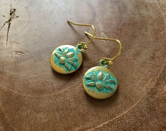 Lotus - goldtone dangling earrings with round metal charm with lotus flower - boho, bohemian, ibiza, gypsy, hippie, zen, trend, blue, teal
