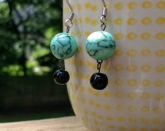 Turquoise glass bead dangle earrings