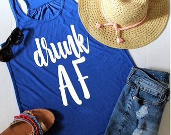 July Sale Ready to Ship, Drunk AF Racerback Tank Top, XS-2XL, St Patricks Day Shirt, Drinking Tank Top, Cinco De Mayo Shirt, Day Drinking Sh