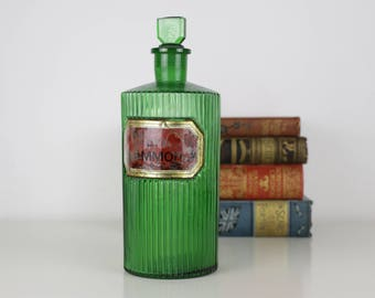 Antique Bottle - Large (25cm) Green Medical Bottle with Gold and Red Label