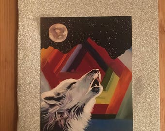 wolf glitter notebook A5