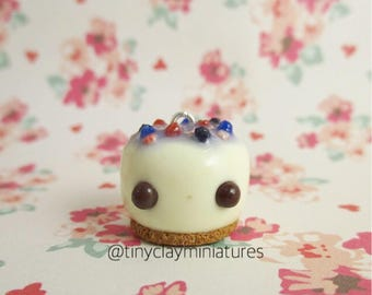 Berry cheesecake polymer clay miniature charm