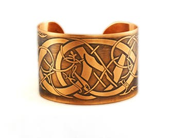 """Urnes style etched metal 1.5"""" cuff"""