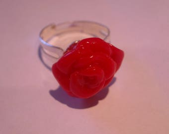 FANCY RED TRANSLUCENT POLYMER CLAY ROSE RING