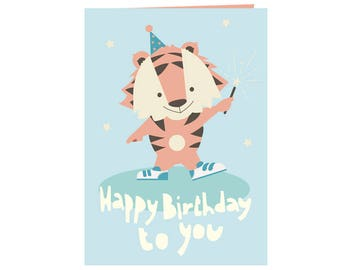 Cute happy birthday card - Happy little tiger with fireworks - Happy Birthday to you! - best friends card -  stars and bright colors - eco