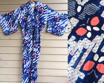Cotton shibori kimono indigo hand dyed tie dye butterfly geometric Japan Japanese traditional long maxi midi wide sleeves jacket coat dress