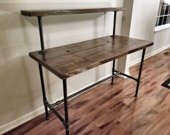 Steel And Wood Desk   Office Iron Pipe Desk With Monitor Shelf