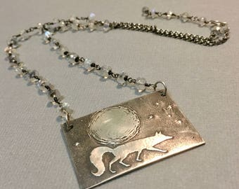 Fox necklace, moonstone and Fox pendant, Fox and moon necklace, starry night necklace, fine silver pendant