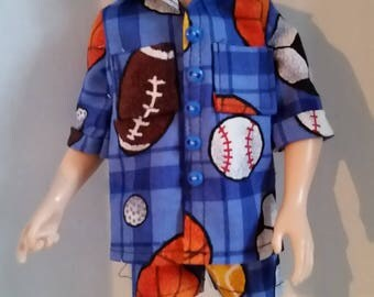"""K 051  Handmade For Ken, Hunter and other 11 """" and 12 """" fashion Boy Dolls,  2 Piece Sports Balls Print Shirt and Matching Shorts Set"""