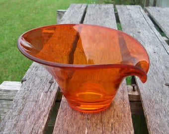 Vintage Orange Glass Bowl, Viking Persimmon Glass Bowl, Retro Glass Home Decor, Candy Bowl, Art Glass Bowl, Mid Century Modern Home Decor