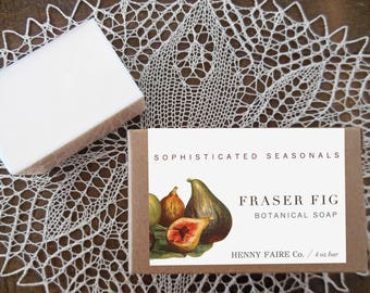 fraser fig soap | holiday bath fragrance with evergreen, fig leaf, galbanum & vanilla | 4 oz botanical bath bar