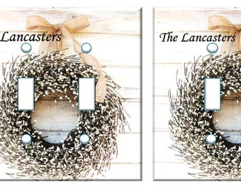 Christmas wreath Light switch cover // Personalized With or Without // white door // SAME DAY SHIPPING**