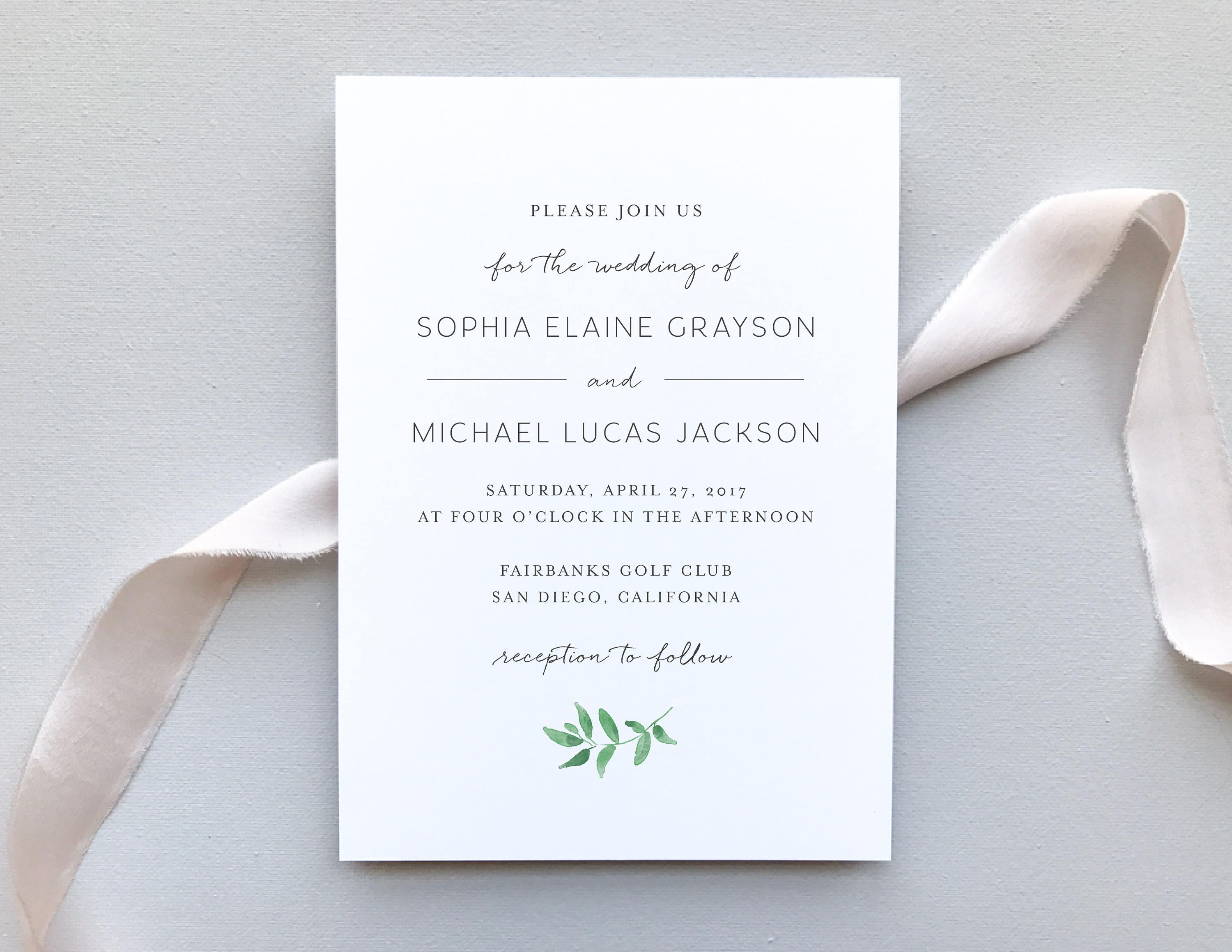 Greenery Minimalist Wedding Invitation Sample / Letterpress or ...