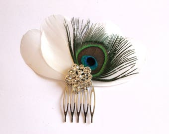 Wedding hair jewelry, hair comb for bride - fascinator - wedding, Bridal, vintage, rhinestone and Peacock feather