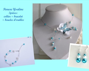 Jewelry set for bride, wedding, white Orchid set and customizable turquoise Butterfly