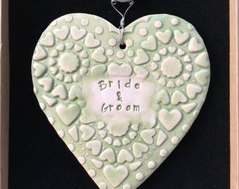 Bride & Groom, handmade ceramic heart, lovely gift
