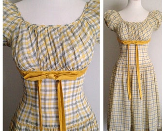 Vintage 1950s - yellow & gray plaid short sleeve drop waist summer dress - sheer cotton - polka dots detail - S small - 34 bust - 26 waist