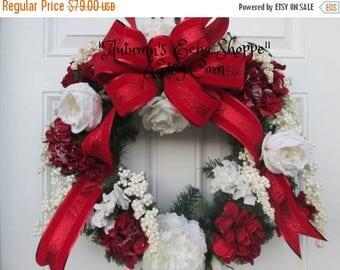 ON SALE NOW Frosted Floral Wreath  , Faux Evergreen Wreath  ,Luxury Christmas Decor Wreath , Holiday Door Wreath , Seasonal Door Wreath , In