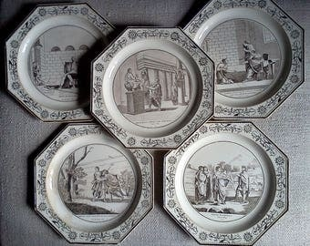 5 French Antique CREIL et MONTEREAU Octagonal Faïence Plates. Around 1800.  Very Decorative French Antique Transferware. Highly Collectable!