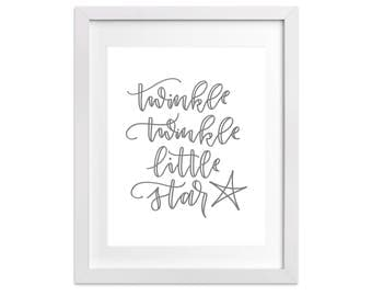 Hand Lettering Nursery Print - Twinkle Twinkle Little Star | Hand Lettering, Toddler Print, Nursery Rhyme, Baby Gift, Baby Shower, Children