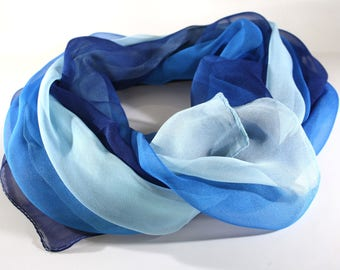Blue scarf woman - Hand painted silk scarf -  Women's scarves -  Fashion scarves - Spring summer scarves - Beach scarf - Long scarves
