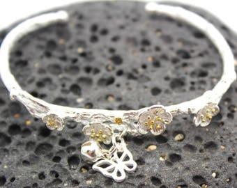 Silver Bracelet, Cherry Blossom and Butterfly Silver New Beginnings Bracelet  - Bracelet, Sterling Silver Ring, Gratitude, Branch Bracelet