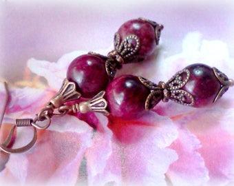Maroon Earrings, Mulberry Earrings, Dark Magenta Earrings, Burgundy Earrings, Mulberry , Gemstone Earrings, Handmade Earrings, Plum Earrings