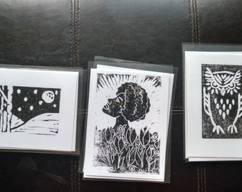 Small Greeting Cards - Handpulled Linocut Prints