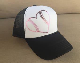 Baseball Softball Heart Pink Foil Hat - Snap Back Trucker Baseball