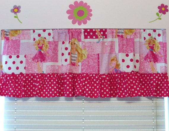 Barbie curtains,Barbie valance,Barbie room decor,Fancy Barbie valance,girls room,girls Barbie,Barbie room,Barbie