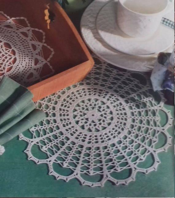 Hand crochet doily cotton lace home décor vintage crochet pattern 12 inch cozy house antique style