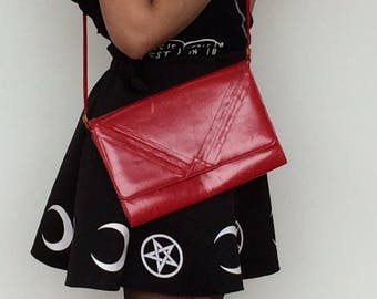 Red Leather Crossbody Purse Thin Strap Shoulder Bag
