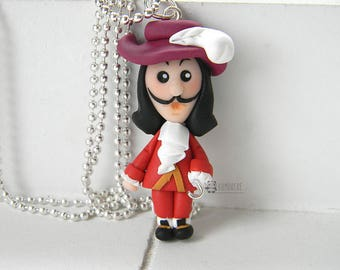 Captain Hook inspired, Hook, Fimo, Polymer clay, Cap'n, Peter Pan, necklace,