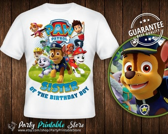 Sister of the Birthday Boy,Design Shirt Paw Patrol,Birthday Party,Personalized Family Shirts, Iron on Transfer, Printable, Instant Download