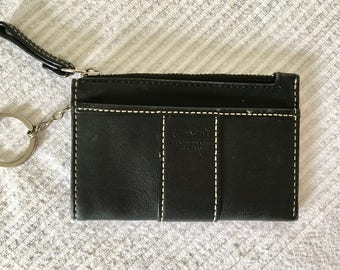 Vintage COACH Black Leather Wallet with Keychain and Zippered Coin Purse